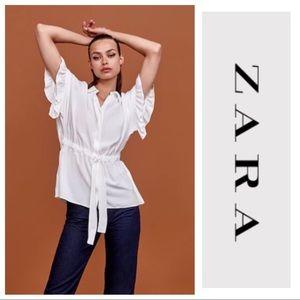 NWT Zara Ruffle Sleeve Tie-Front Blouse